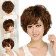 Women Short Curly Wavy Hair For Middle Old Age Cosplay Party Full Wig+Free Cap