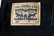 New! Mens BIG & TALL LEVI'S 559 RELAXED STRAIGHT FIT BLACK CORDUROY PANTS