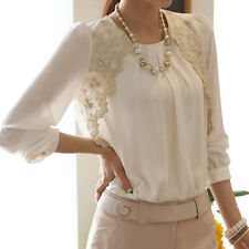 Elegant Women White Long Sleeve Embroidered Chiffon Casual Tops Blouse Shirt GY5