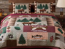 MOOSE LODGE Full/Queen or King QUILT SET -BEAR FISH LOG CABIN MOUNTAIN COMFORTER