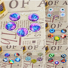 Handmade star universe image Glass Cabochon Link Chain Bracelets Silver Plated