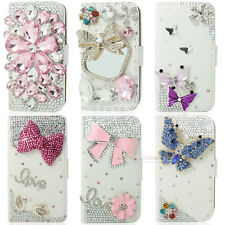 White Bling Diamond Flip Wallet Leather Case Cover For iphone Samsung LG G2