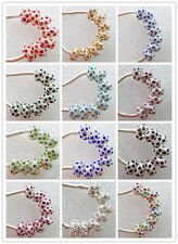 A+ Crystal Rhinestone Silver Big Hole Spacer Beads Fit European Charm Bracelets