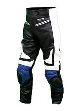 Kc301 pantalon moto quad RACING cuir noir et bleu KARNO - SLIDERS INCLUS