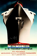 Steam Ship NORMANDIE French Line Ocean Liner Travel Poster-3sizes-Art Print 097a