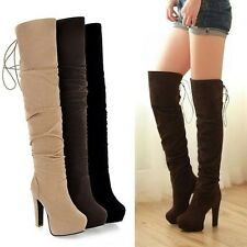 Womens Pull On Lace Up Pleated Round Toe High Heel Over The Knee Boots Plus Size
