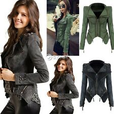 Sexy Women's Punk Spike Studded Shoulder Vintage Denim Jacket Jeans coat 3 Color