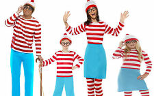 Where's Wally Wenda Ladies Mens Kids New Fancy Dress Costume Glasses Hat