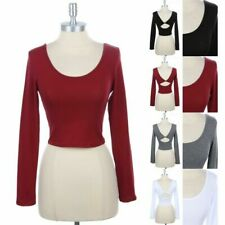 Long Sleeve Solid Scoop Neck Twist Back Detail Cropped Top Cotton Span S M L