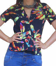 New Blouse Shirt Tops Ladies Casual Short Sleeve Top Size 10 12 14 16 18 20