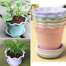 Colorful Wavy Garden Plastic Flower Planter Nursery Plant Pots with Tray New