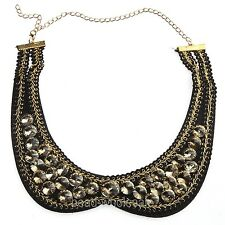 Women's Fashion Black Crystal Beads Gold Plated Chain Bib Collar Necklace
