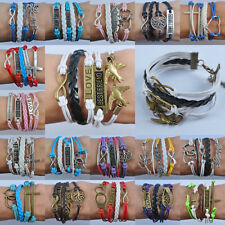 Vintage Anchors Braid Leather Multilayer Bracelet Girl Jewelry Bangle LG701-G718