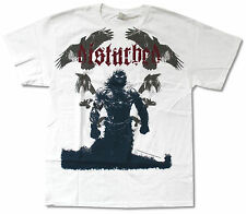 """DISTURBED """"RAVENS ON WHITE JUMBO"""" WHITE T-SHIRT NEW OFFICIAL ADULT BAND"""