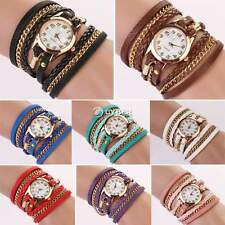 Fashion Women Girl Rhinestone Synthetic Leather Sling Chain Quartz Wrist Watch D