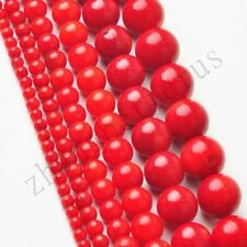 "Natural Wholesale Round Red Coral Loose Charms Spacer Beads 16"" Strand 2-9 mm"