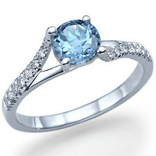 Blue Topaz Engagement Ring 14k White Gold with Diamonds December Birthstone