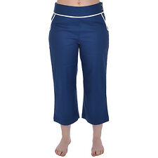 Ashworth Womens Ladies Capri Casual Sailor Trousers Bottoms Pants - Navy