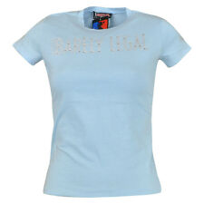 Hustler Clothing Barely Legal Shimmer Rhinestone Blue Petite Womens Brand