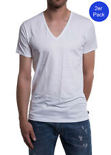 Diesel 2er Pack Herren T-Shirt Dave Deep V Neck The Essential Cotton - Weiß
