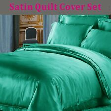 120gsm Satin Quilt/Doona/Duvet Cover & Pillowcase SB/DB/QB/KB in AQUA/TURQUOISE