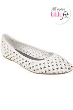 Yoursclothing Womens Plus Size Weave Detail Ballerina Pump In Eee Fit