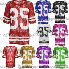 Womens Netted Ladies 85 Oversized Floral Lace Baseball Baggy T Tee Shirt Top