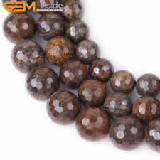 """Natural Stone Round Bronzite Beads For Jewelry Making 15"""" Faceted 10mm 12mm 14mm"""
