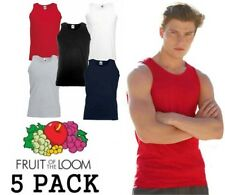 5 Pack Mens Fruit Of The Loom Vest Gym, Athletic, Printable, Plain Tank Top