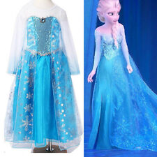 Girl's Kids Disney Frozen Elsa Dress Costume Princess Anna Party Dresses 2-12