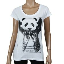 Eleven Paris Moustrash W Women T-Shirt White Mustache Panda Trash