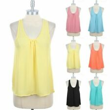 Chiffon Ruched Front Casual Sleeveless High Low Hem Tank Top Round Neck S M L