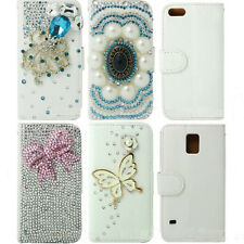 White Bling Flip Wallet Leather Case Cover For Samsung iPhone HTC M8 LG G2