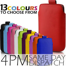 PREMIUM PU LEATHER PULL TAB CASE POUCH COVER FOR VARIOUS MOBILES -13 COLOURS
