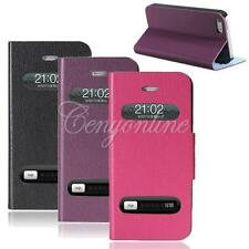 Caller ID Front View Leather Magnetic Stand Holder Case Cover For iPhone 5