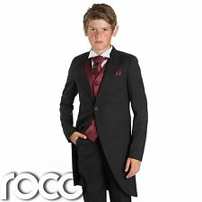 Boys Black & Wine Tail Suit , Wedding Suits, Page Boy Suits, Slim Fit Suits