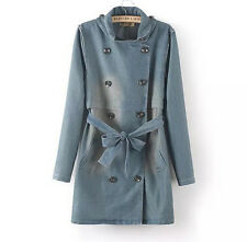 Women's Girl College Lady Double Breasted Belt Bowtie Denim Jeans Trench Jackets