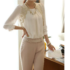 Womens Chiffon Embroidered Long sleeve Casual Tops shirt
