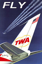 FLY TWA Trans World Airlines Boeing 707 Retro Travel Poster-3 sizes-Print 054a