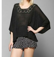 NEW URBAN OUTFITTERS Pins And Needles Crochet-Trim Top Poncho BLACK XS/S M/L