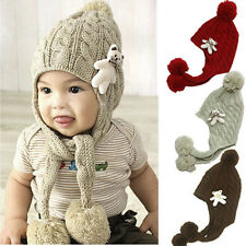 New Crochet Baby Toddler Girl Boy Bear Toy Embellish Winter Hat Cap Ears Protect