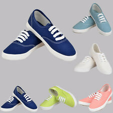 Womens Canvas Lace Up Casual Flats Fashion Sneakers Skate Plimsoll Sport Shoes