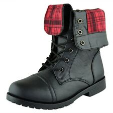 Girl's Plaid Fold Over Cuff Lace Up Youth Mid Calf Ankle Combat Boots Black