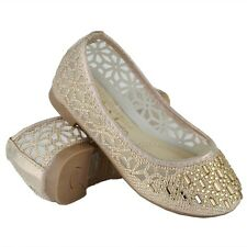 Ballet Flats Girl's Rhinestone Jewel Accent Casual Slip On Lace Gold Shoes