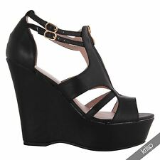 Womens Ladies Zip Front Cut Out Peep Toe Platform Wedge Heel Shoes Party Boots