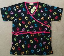 Shana Scrub Vet Tech Top Paw Print Medical Nurse Smock Dog Lovers Multi Colored