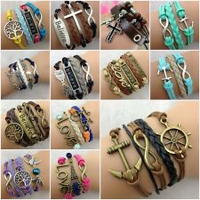 New Jewelry Fashion DIY Lots Style Leather Cute Infinity Charm Bracelet Bangle