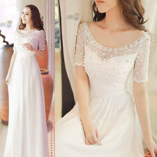 New Arrival Women's Off Shoulder Chiffon Maxi Dress Sweet Lace Party Gown Dress