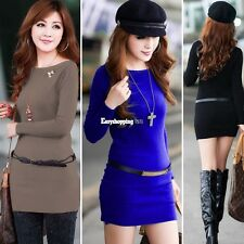 Casual Women Winter Long Sleeve Knitted Jumper Sweater Tops Pullover Dress
