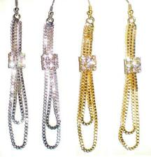 Double Box Chain Dangling Earrings with Square Rhinestone Accent  * U Pic